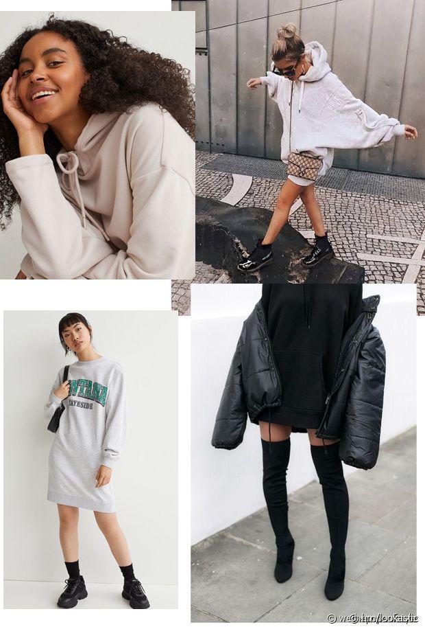 Confortable, sportswear et pratique cette robe-pull façon sweatshirts
