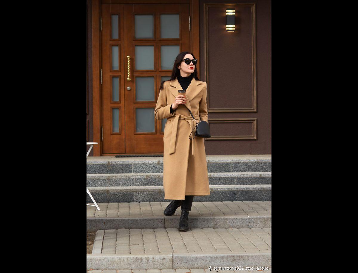 Slim Trench Longue Cheville longueur Style Manteau En Laine