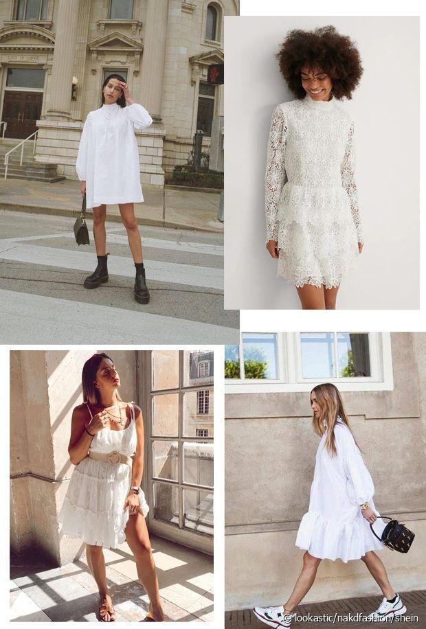 Boots, baskets, sandales, escarpins... tout est possible avec la robe blanche !