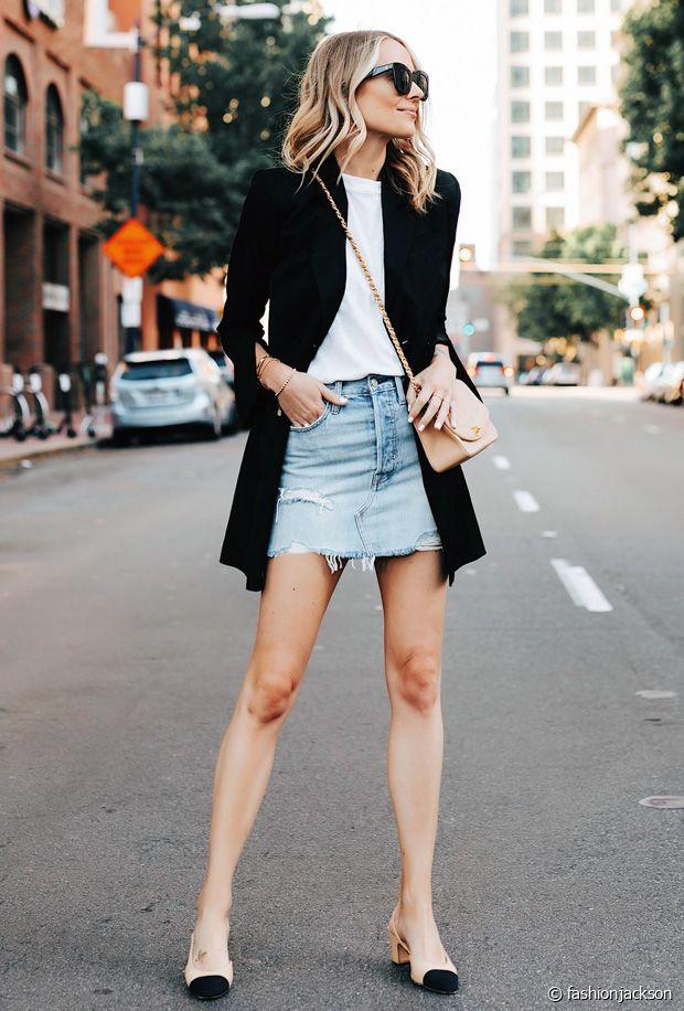 Comment porter une jupe en jean au printemps ?