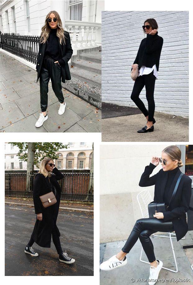 Par petites touches subtiles, le blanc et la couleur viennent dynamiser notre total look noir
