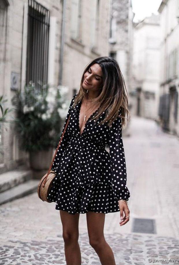 Sublime cette robe noire à pois blanc !