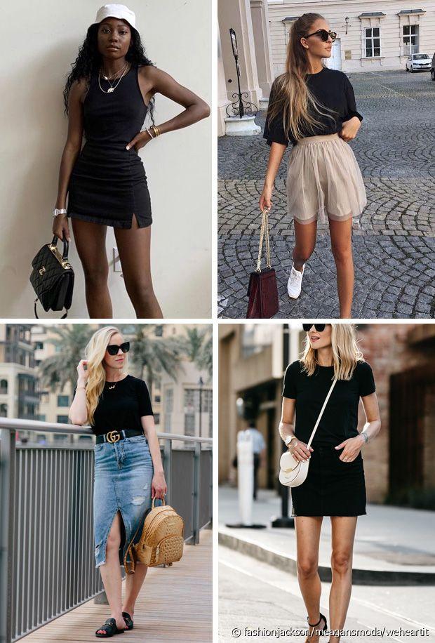 Denim, cuir, coton, lin... Toutes les jupes se marient bien au tee-shirt noir