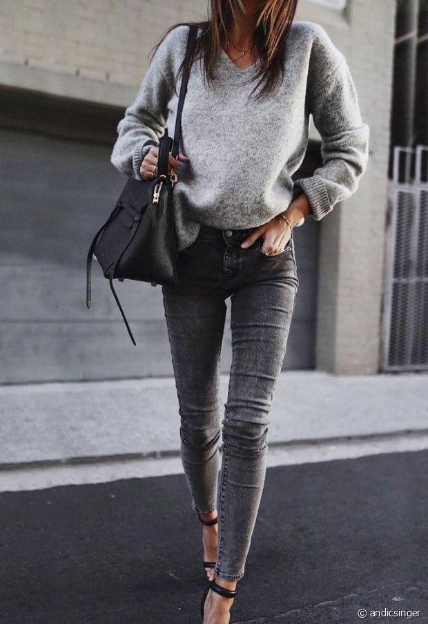 Comment porter un jean gris en automne-hiver ?