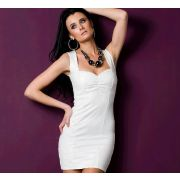 Robe blanche moulante insertions en simili cuir t 38 ou 40