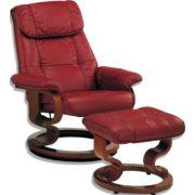 Fauteuil et pouf de relaxation caraïbes cuir rouge