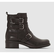 Boots en cuir style motard noir - r studio