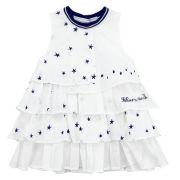 Robe en voile coton et étoiles brodées blanc ikks - robes enfant bébé