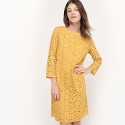 Soldes ! robe broderie anglaise, longueur genou - feminin - jaune - la redoute collections