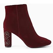 Boots en velours femme bordeaux - promod
