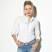 Chemise col mao, manches retroussables femme lin/coton beach - 3 suisses collection