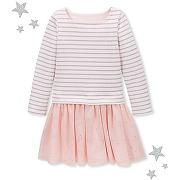 Robe fille à rayure marinière lurex petit bateau rose, gris