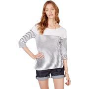 T-shirt marinière couleur blanc/marine - monoprix femme