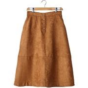 Jupe midi aspect faux daim marron - soft grey