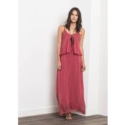 Robe longue en soie rouge