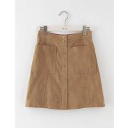 Mini-jupe en daim seventies marron femme boden