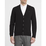 Cardigans lacoste - cardigan laine d'agneau croco ton sur ton noir