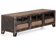 Ware meuble tv en pin, acier et verre