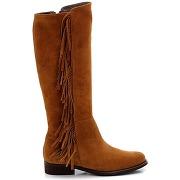 Bottes en cuir, zippées, avec franges marron - soft grey