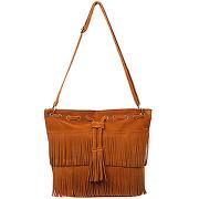 Femme marron sac à main à franges imitation cuir velours lesara