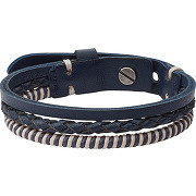 Bracelet en cuir bicolore - bleu - homme - fossil