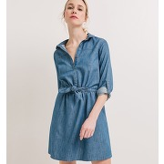 Robe en jean femme jean moyen - bleu - femme - promod