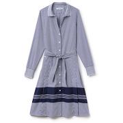 Robe chemise ceinturée en popeline de coton rayée