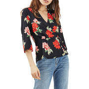Top portefeuille à motif floral - noir - femme - topshop