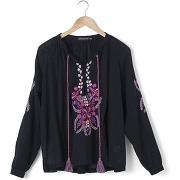 Blouse cali, voile pur coton et broderies - feminin - noir - antik batik