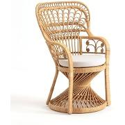 Soldes ! fauteuil en canne de rotin tressé malu - gris - la redoute interieurs