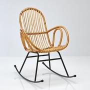 Soldes ! rocking chair vintage en rotin, siona - gris - la redoute interieurs