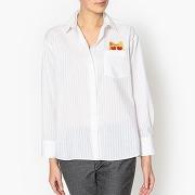 Soldes ! chemise rayée avec broderie meowcat - feminin - blanc - paul and joe sister