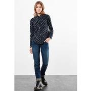 Soldes ! chemise imprimée col tunisien - feminin - bleu - s oliver
