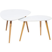 Lot de 2 tables basses scandinave droppy - couleur - blanc