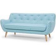 Canapé 3 places fixe esprit scandinave à motifs bleus