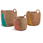 Lot de 3 paniers fibres naturelles maja - couleur - multicolore