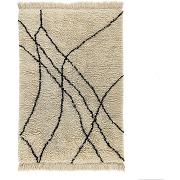 Tapis style berbère en laine, louka ecru / noir