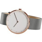 Molvena, montre, doré rose et bracelet en cuir gris