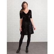 Robe de grossesse en velours noir foncé uni