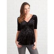 T-shirt de grossesse en panne de velours noir foncé uni