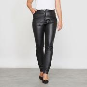 Pantalon 5 poches slim en simili noir