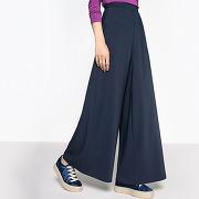 Pantalon large taille haute marine-bleu