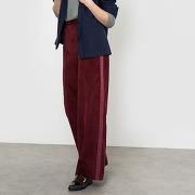 Pantalon large en velours bordeaux-rouge