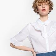 Chemise manches courtes, col chemise à volants blanc