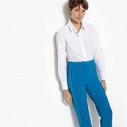 Chemise droite, manches longues, pur coton blanc