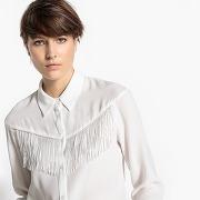 Chemise à franges, col polo, manches longues ecru