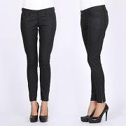 Femme noir jeans slim imitation cuir lesara