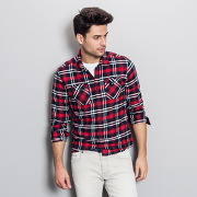 Chemise carreaux flanelle homme rouge carreaux - soldes