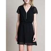 Robe col zippé noire