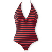 Maillot de bain femme 1 pièce rayure marinière petit bateau bleu, rouge